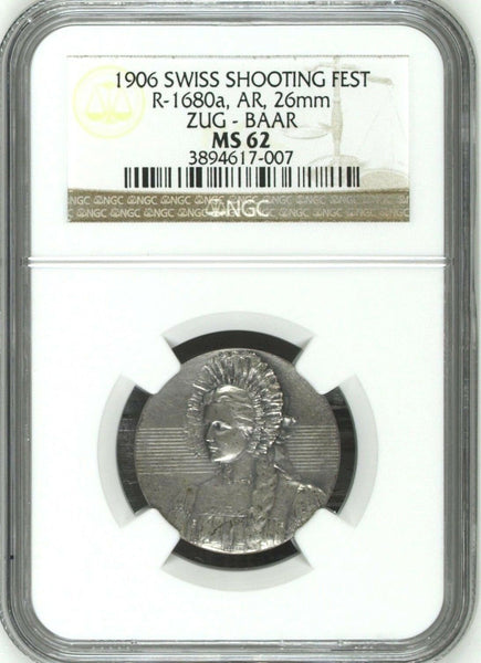Very Rare Swiss 1906 Silver Shooting Medal Zug Baar R-1680a Woman NGC MS62