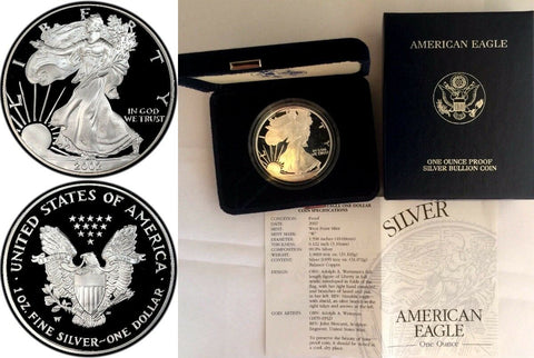 2002 W 1oz Proof Silver Coin $1 American Eagle United States Box and Certificate