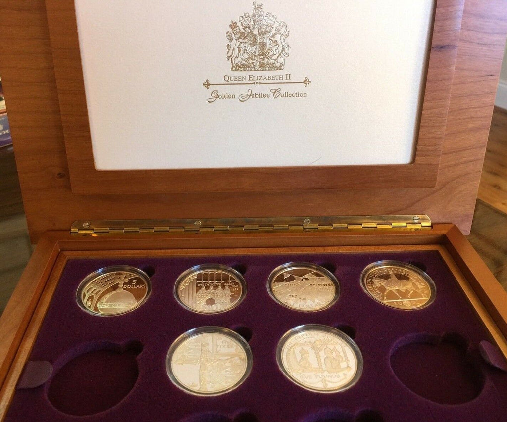 2002 Queen Elizabeth II Golden Jubilee Collection 6 Gold Wash & Silver Coins