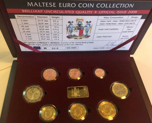 2008 Malta 8 Coins Official Euro Set Special Edition Box COA