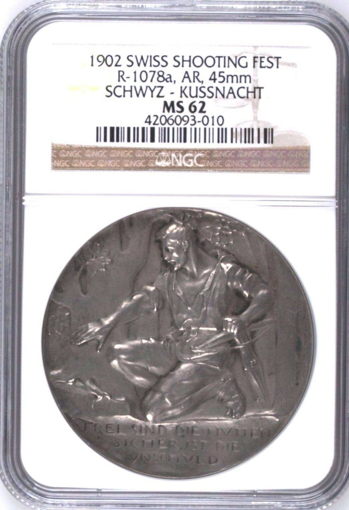 Rare Swiss 1902 Silver Medal Shooting Fest Schwyz Kussnacht R-1078a NGC MS62