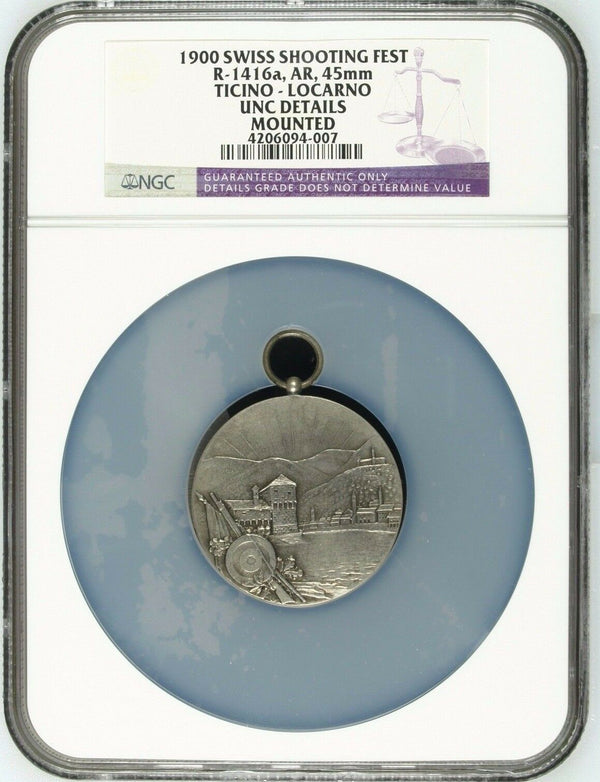 Very Rare Swiss 1900 Silver Shooting Medal Ticino Locarno R-1416a NGC Mint-200