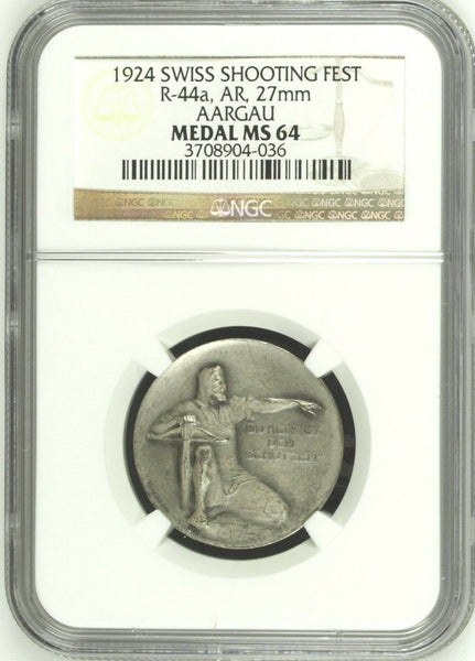 Swiss 1924 Silver Shooting Medal Aarau Aargau R-44a M-38 NGC MS64 Switzerland