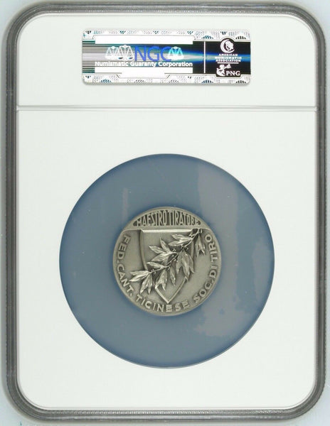 Rare Swiss Silver Shooting Medal Ticino R-1523a Huber NGC MS65 Beautiful Woman