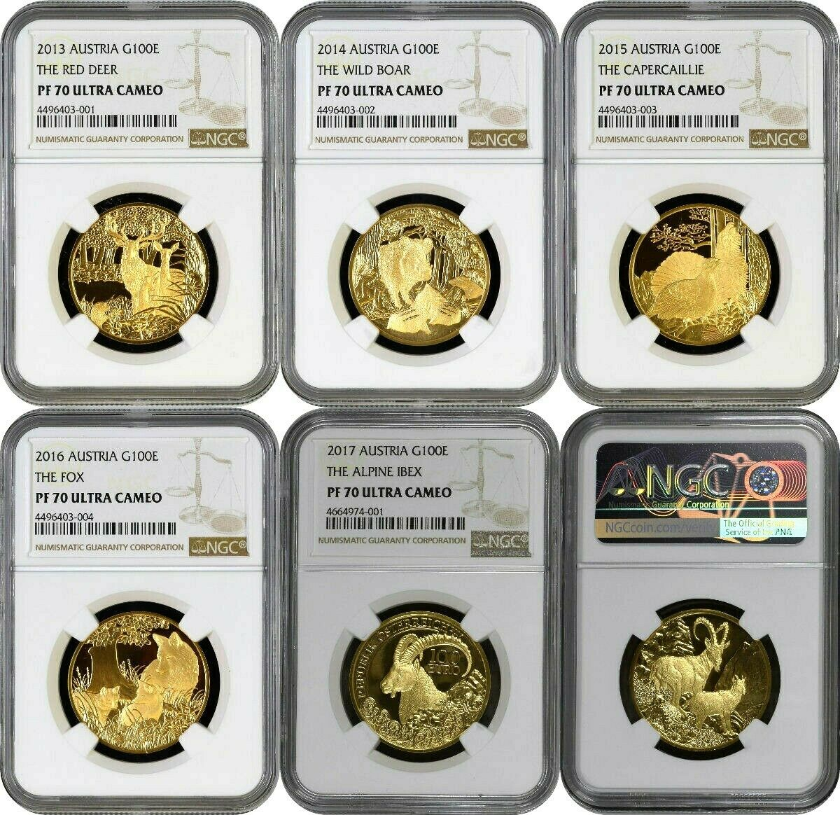 2013-2017 Austria Gold Set 5 Coins Wildlife in our Sights NGC PF70