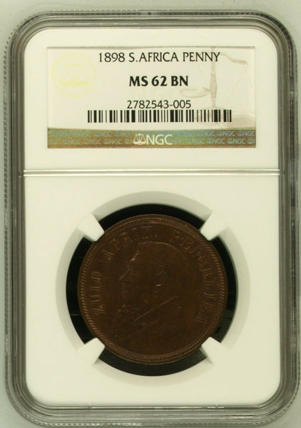 1898 South Africa Bronze Coin Penny Graded by NGC as MS62BN
