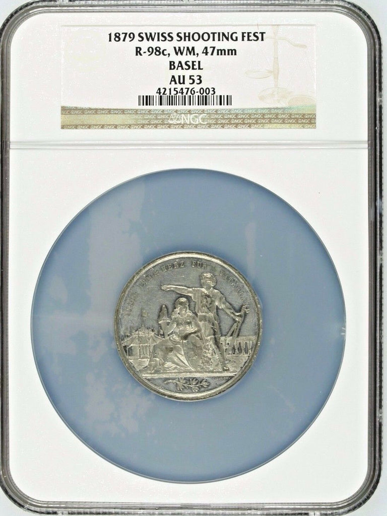 Rare Swiss 1879 Shooting Medal Basel Helvetia WM R-98c Switzerland NGC AU53