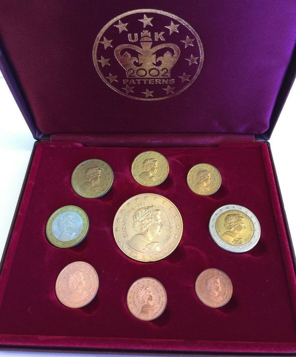 2002 United Kingdom Pattern Euro 9 Coins Collection Limited Edition