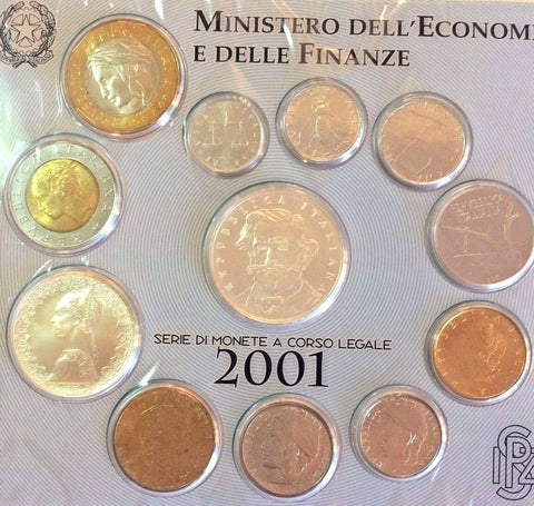 Italy 2001 Giuseppe Verdi 100 Anniversary Official Last Lire Set 12 Coins Silver