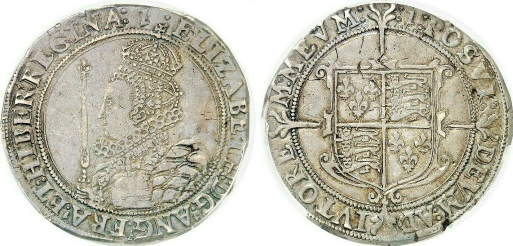 Very Rare Great Britain 1601 Half 1/2 Crown Silver Elizabeth I London PCGS XF45