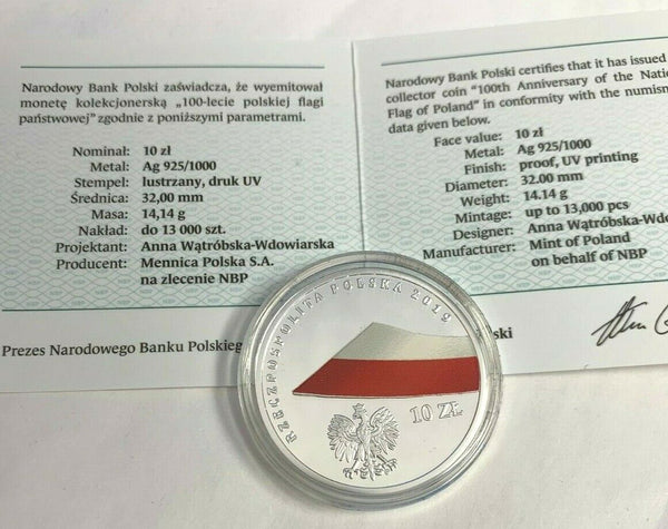 2019 Poland Silver Coin 10 Zloty 100th Anniversary of the National Flag Box COA