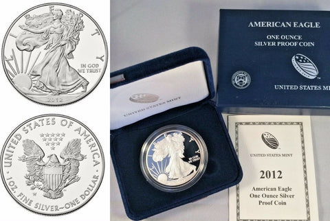 2012 W 1oz Proof Silver Coin $1 American Eagle United States Box and Certificate