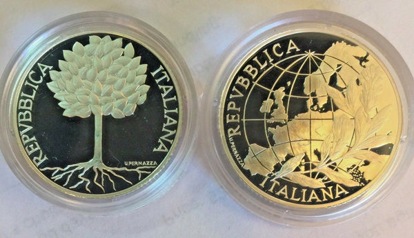 Italy 2003 Silver Proof Coins Set 5 & 10 Euro People in Europe Box Low Mintage