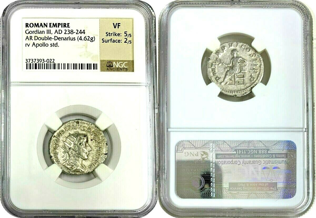 Roman Gordian III AD238-244 Antoninianus Double Denarius Apollo seated NGC VF