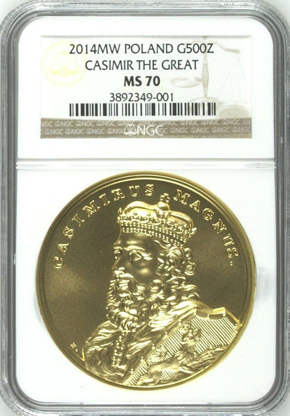 2014 Poland Gold 500 Zloty Casimir The Great Kazimierz Wielki NGC MS70 Box