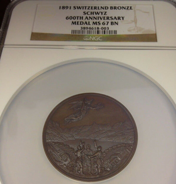 1891 Bronze Historical Medal Swiss Confederation 600th Anniversary Schwyz NGC