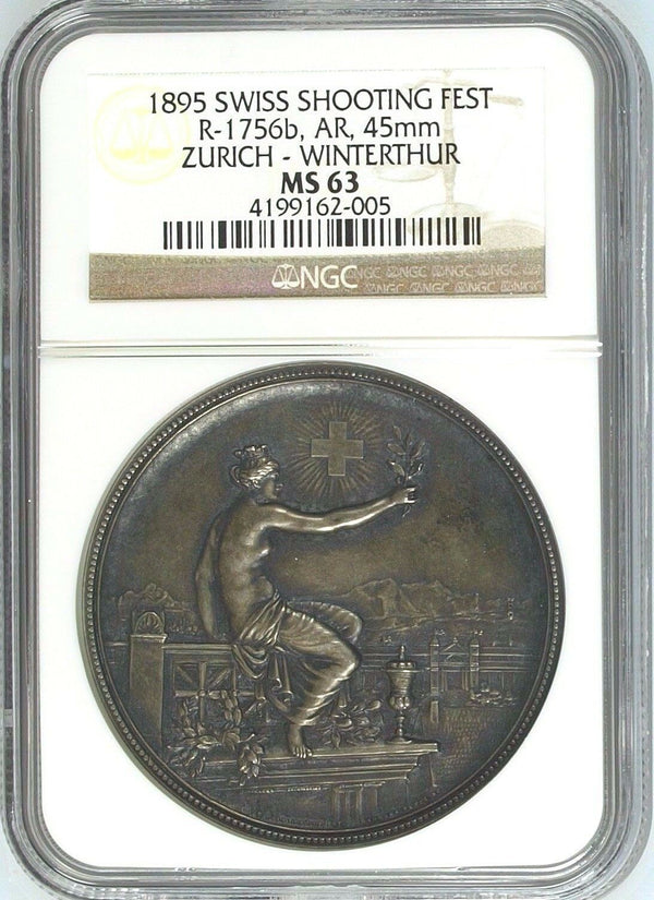Swiss 1895 Silver Shooting Medal Zurich Winterthur R-1756b Helvetia NGC MS63