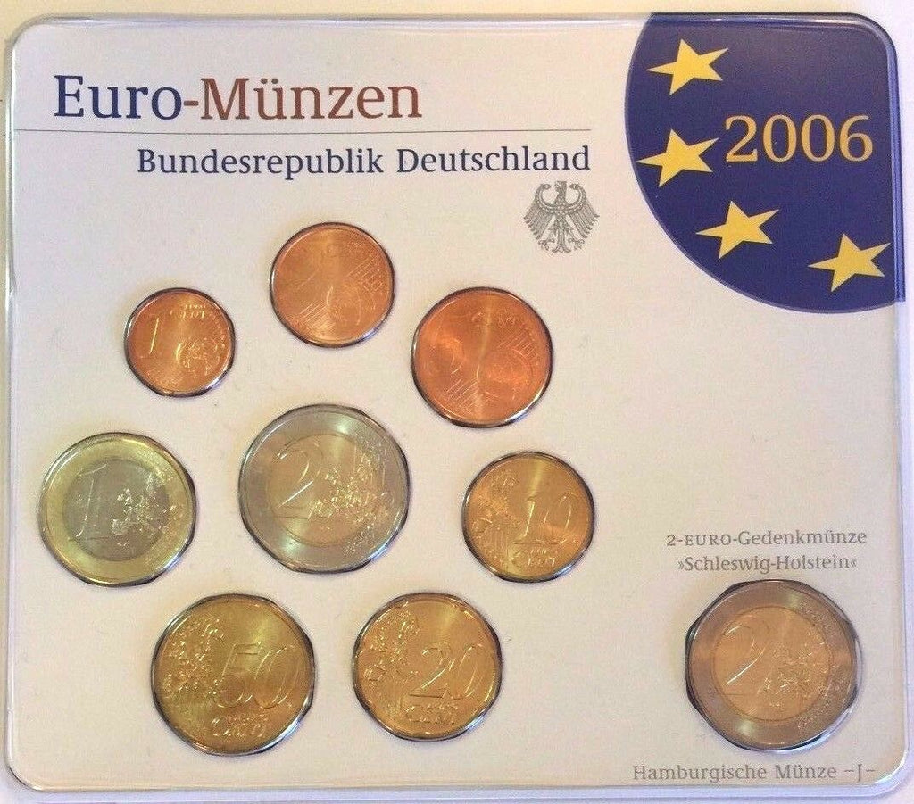 2006 J Germany Official Euro 9 Coins Set Special Edition Hamburg Deutschland