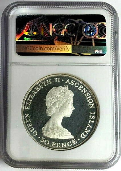 1984 Ascension Island Proof Silver Coins 50 Pence Piedfort NGC PF63 Mint-5,000