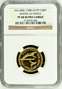 Extremely Rare Egypt 1408/1988 Gold 50 Pounds Winter Olympic NGC PF68 Mintage-50