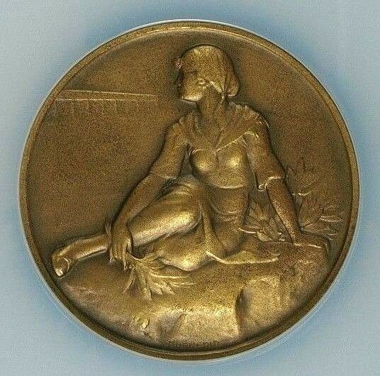 Swiss 1929 Bronze Shooting Medal Ticino Bellinzona R-1465b Woman NGC MS65 BN