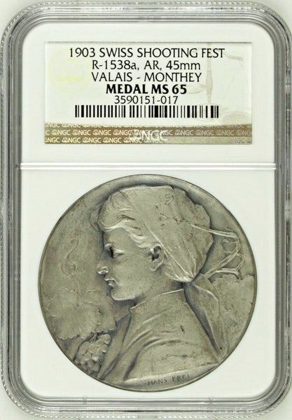 Swiss 1903 Silver Medal Shooting Fest Valais Monthey R-1538a NGC MS65 Rare