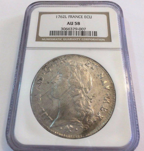 France 1762L Ecu Silver Coin Louis XV Paris NGC AU58