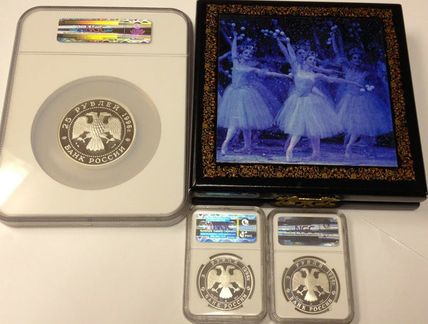Russia 1996 Silver Proof Tchaikovsky Nutcracker Ballet 3 Coin Set Box NGC PF 68