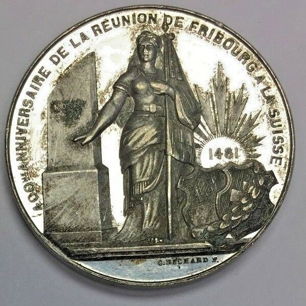 Very Rare Swiss 1881 Silver Shooting Medal R-414a Fribourg Switzerland