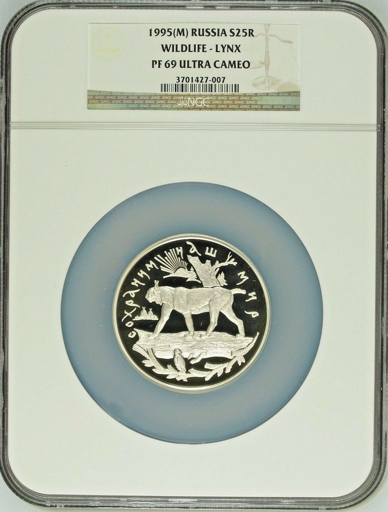 1995 Russia Silver 5 Oz Coin 25 Rubles Wildlife Lynx on log NGC PF69 Low Mintage