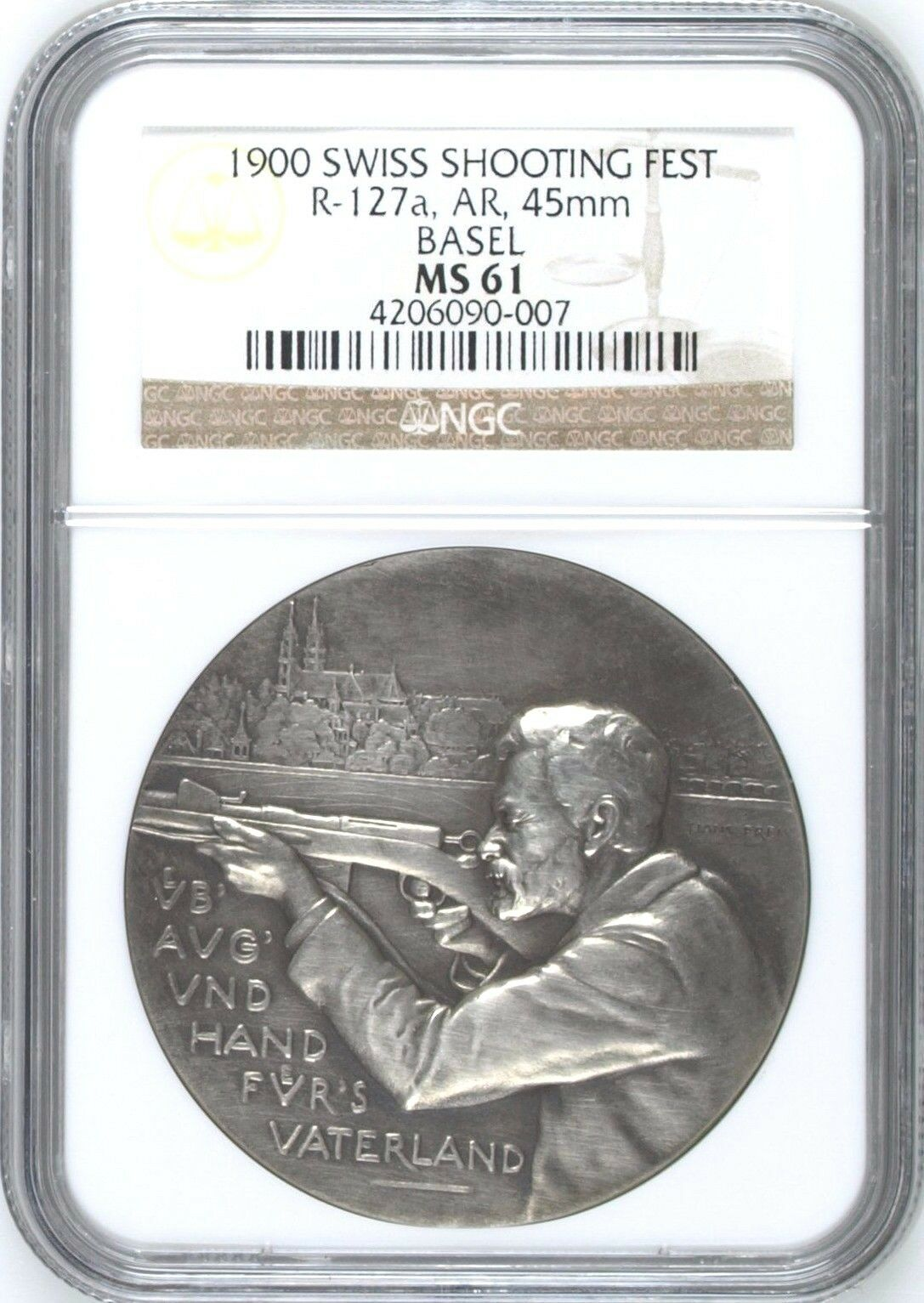 Swiss 1900 Silver Medal Shooting Fest Basel R-127a M-78 NGC MS61 Mintage-650