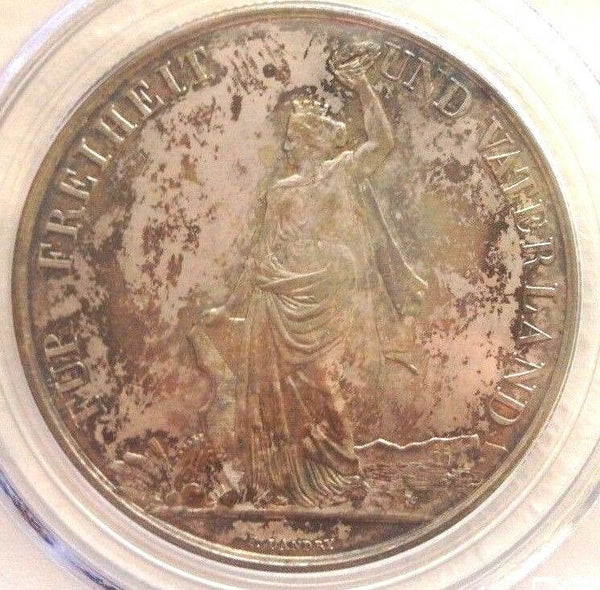 Swiss 1872 Silver Shooting Taler 5 Francs Zurich R-1731a PCGC AU58 Switzerland