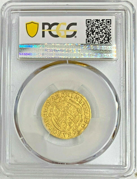 Rare Germany 1636 SD Gold Ducat Saxony Johann Georg I Dresden PSGC MS62