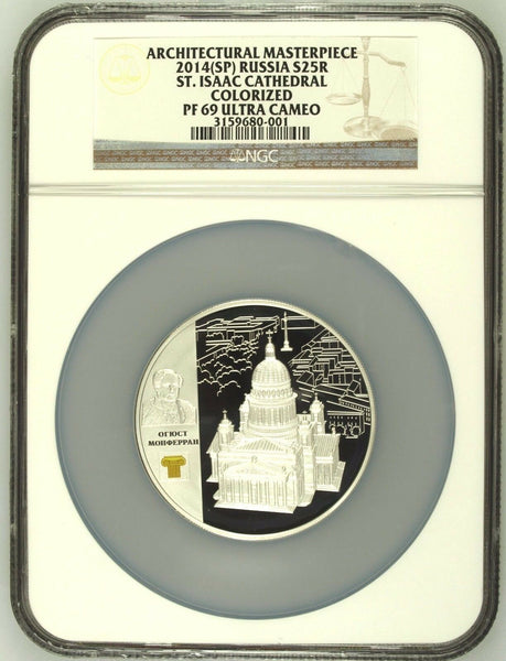 2014 Russia 25 Rouble Silver Colorized St Isaac Cathedral St Petersburg NGC PF69