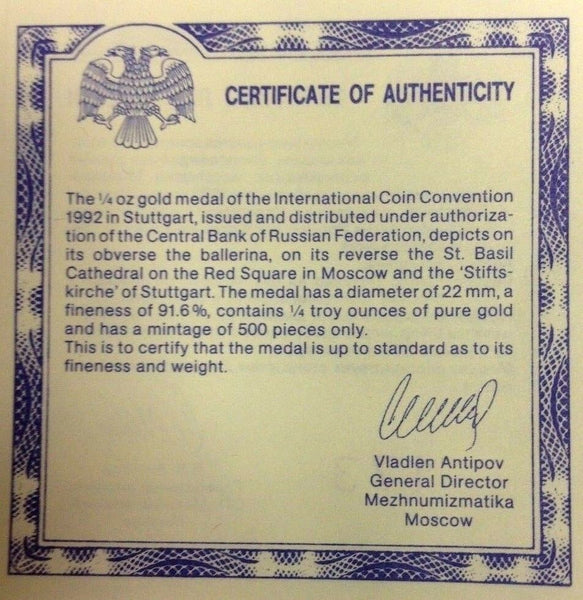 Russia 1992 Gold Medal Ballet German Numismatic Convention Stuttgart NGC PF69