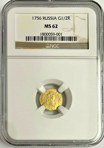 Russia 1756 Very Rare Gold 1/2 Ruble Poltina Queen Elizabeth NGC MS62
