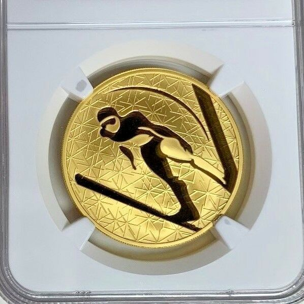 Russia 2009 M Gold 200 Roubles 1oz Winter Sport Ski Jumping NGC PF69 Mintage-500