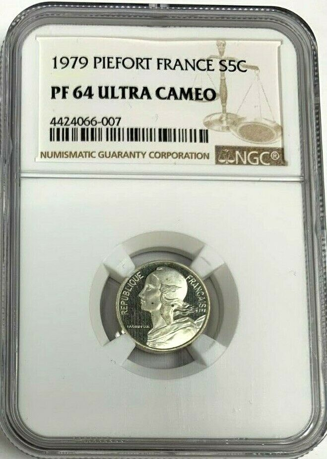 1979 France Proof Silver Coin 5 Centimes Piedfort NGC PF64 Mintage-600