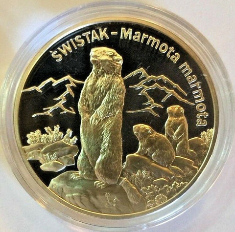 2006 Poland Silver 20 Zloty Svistak The Marmot Animals of the World