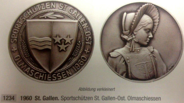 Swiss 1960 Bronze Shooting Medal St Gallen R-1234c Woman NGC MS64 Mintage-340