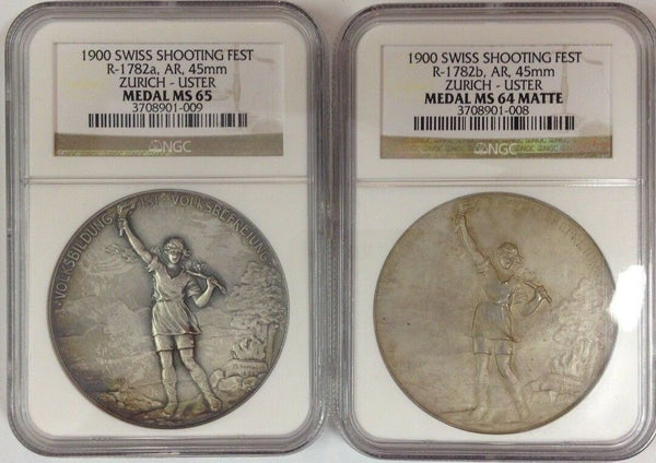 Swiss 1900 Set 2 Silver Medals Shooting Fest Zurich Uster R-1782 NGC MS64-65