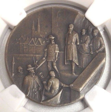 Swiss 1920 Silver Shooting Fest Medal Zurich R-1812b NGC MS63 Switzerland