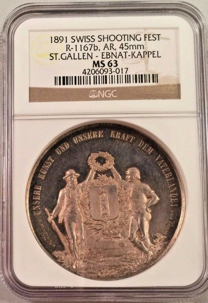 Swiss 1891 Silver Shooting Medal St Gallen Ebnat Kappel R-1167b NGC MS63
