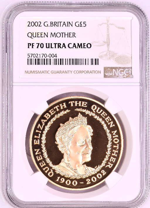 Great Britain 2002 Gold £5 Queen Elizabeth Queen Mother NGC PF70 Mint-2,086 Box