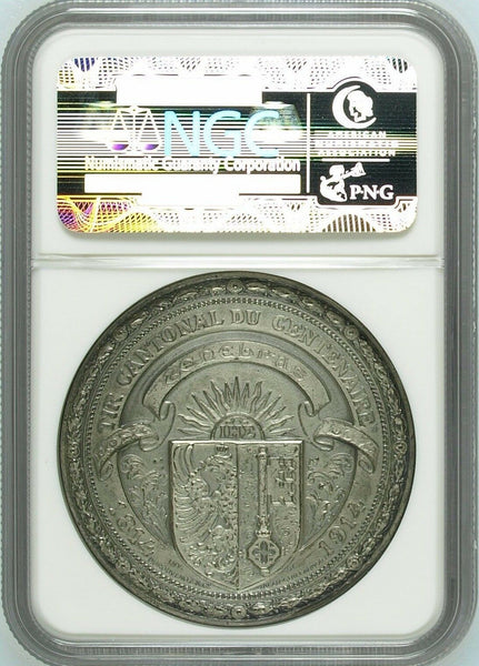 Swiss 1914 Silver Shooting Medal Geneva R-753a M-412 NGC MS63 Mintage-633