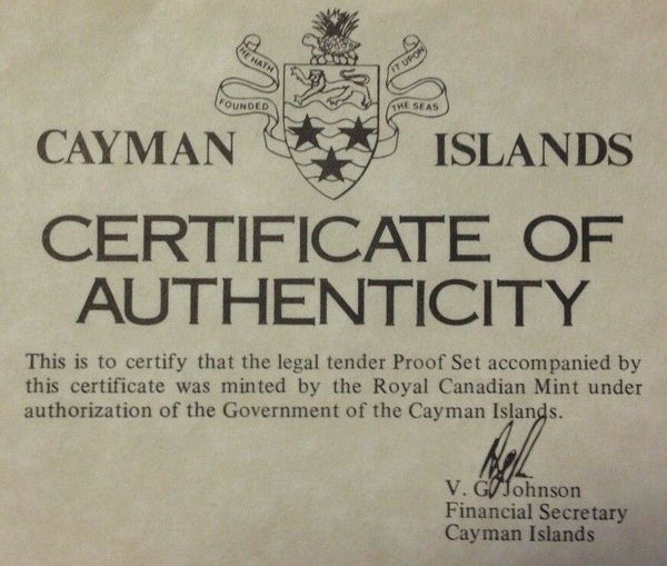 Cayman Islands 1975 Set 8 Proof Coins (4 Silver) minted in Canada Box COA