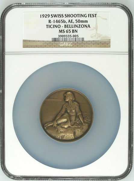 Swiss 1929 Bronze Shooting Medal Ticino Bellinzona R-1465b Woman NGC MS65 Box