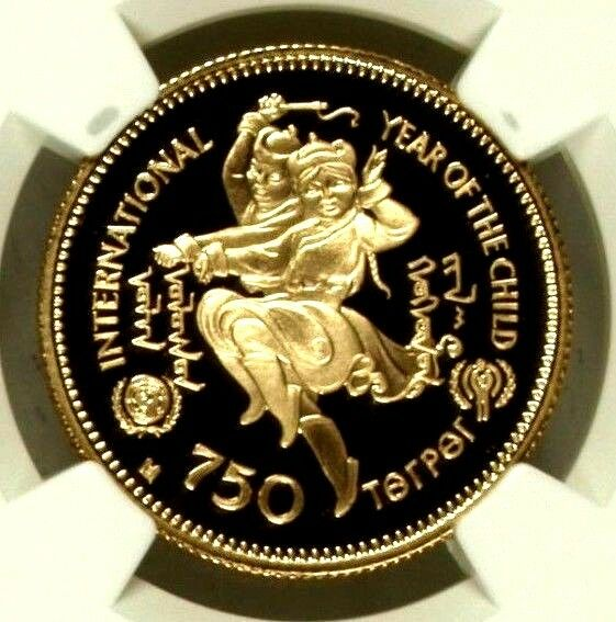 1980 Mongolia 750 Tugrik Gold Coin Year of Child NGC PF69 Ultra Cameo