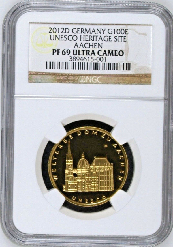Germany 2012 D Gold 100 Euro UNESCO Heritage Aachen Munich Mint NGC PF69 Box COA