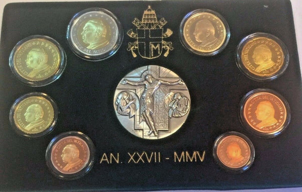 Vatican 2005 Pope Johannes Paul II Euro Set 8 Proof Coins, Silver Medal Box COA